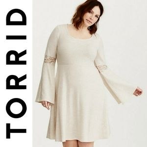NWT Torrid Lace Inset Hacci Knit Skater Dress